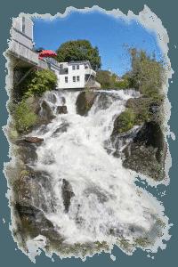 Camden Harbor waterfalls.