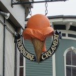 The sign for the Thorndike creamery on Main St in Rockland Maine
