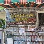 Lots of condiments and information on this seafood shack in Rockport.