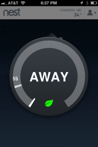 iPhone Screen Shot of the Nest Thermostat.