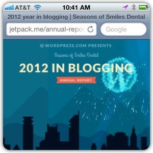 Screen Capture of WordPress year in blogging 2012