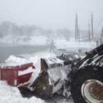 I thought this was interesting. There is so much snow, they are plowing the snow into the harbor. I guess its the easiest way of getting rid of the snow.