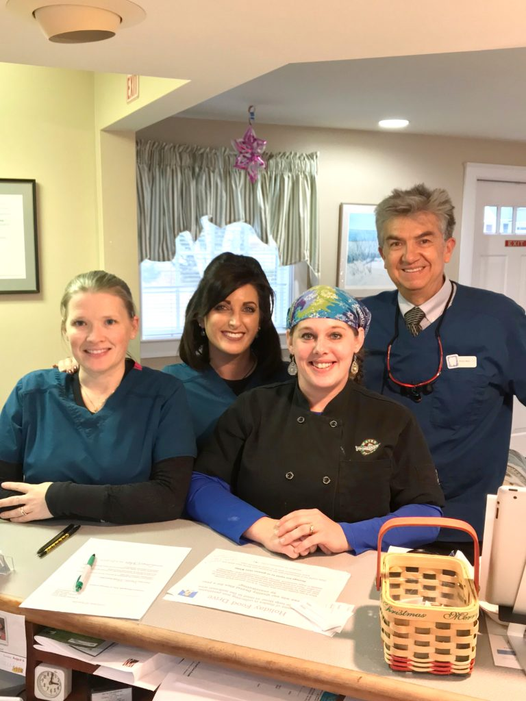 Denise Johnson is the lead day cook at the Waterfront Restaurant, Camden, Maine Left to right, Samantha Quinn, Michelle Webber, Denise Johnson, Norman Medina DDS