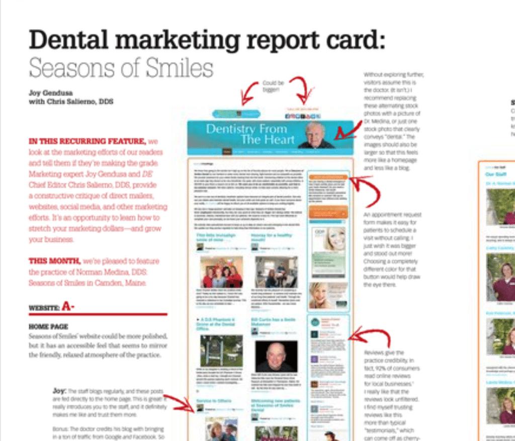 Dental Marketing Report Card for Seasons of Smiles Dental